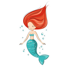 Mermaid is swimming.  She is hostess underwater ocean world. Vector isolated.