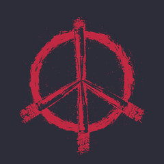 Peace sign with bullets, t-shirt print, red on dark