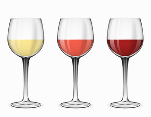 Wine glasses vector. Glass of red rose and white beverage