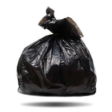 Single black plastic garbage bag on white background, clipping p