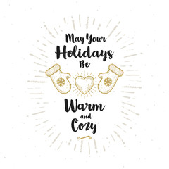 Christmas greeting card - Calligraphy greeting and glitter gold mittens with shining heart