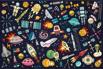 Vector abstract illustration of space. Solar system. Moon, astronaut, planet, rocket, earth, cosmonaut comet universe orbit Technology Hand drawn comic