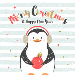 Cute cartoon penguin with baubles. Christmas greeting card. Vector illustration.