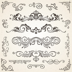 Vector set of Swirl Elements and Corners for design. Calligraphic page decoration, Labels, banners, baroque Frames floral ornaments. Old paper