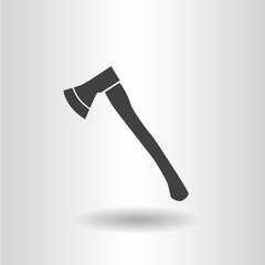 icon axe black isolated flat silhouette vector illustration