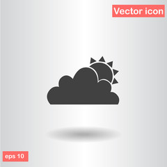 sun and cloud black flat icon eps 10 vector illustration