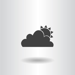 icon silhouette isolated sun and cloud black flat icon vector illustration