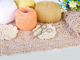 Handmade crochet lace background