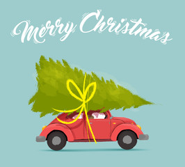 Merry christmas card with fun holiday car design