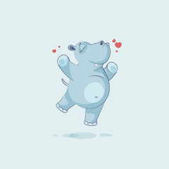 Emoji character cartoon Hippopotamus jumping for joy