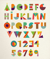 Christmas font set with happy holiday colors
