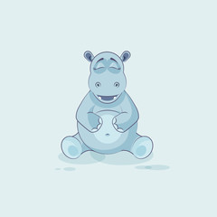 Emoji character cartoon Hippopotamus Happy and contented