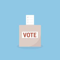 ballot box vote, flat design, vector