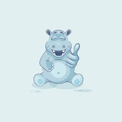 Emoji character cartoon Hippopotamus approves with thumb up
