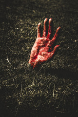 Zombie rising from a shallow grave