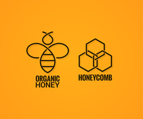bee logo and honeycombs label on yellow background