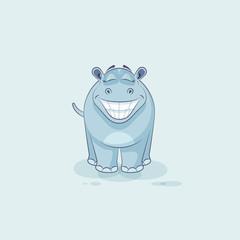 Emoji character cartoon Hippopotamus with a huge smile
