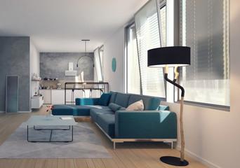 Modern interior, Apartment, Kitchen 3D Render