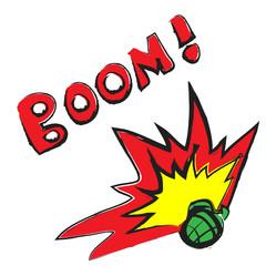 cartoon hand grenade and boom symbol
