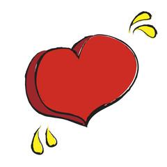 cartoon hearts and drops of tears