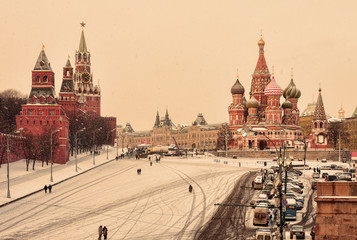 View of Kremlin, Cathedral of St. Basil, GUM at the Red Square in winter. Moscow, Russia.
