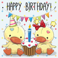 Greeting card two cute Cartoon Ducks