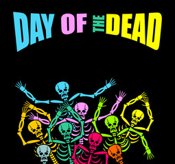 Day of the Dead Multicolored skeleton. color Skull. Dead backgro