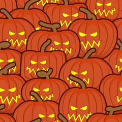 Halloween background. Pumpkin seamless pattern. Scary vegetable