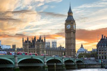 Fotomurales - Westminster Brücke und Big Ben in London bei Sonnenuntergang