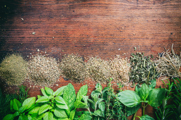 Herbs on a wooden surface