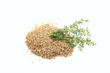 Fresh and dried thyme on white background