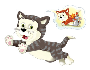 Cartoon happy cat running jumping and thinking - speaking cloud with image - isolated - illustration for children