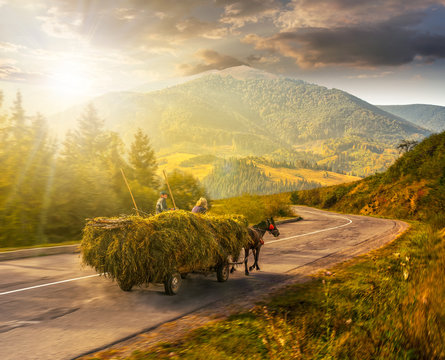 cart with hay on the way to mountains at sunset