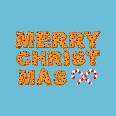 Happy Christmas cookies typography. Letters of cookie. Peppermin