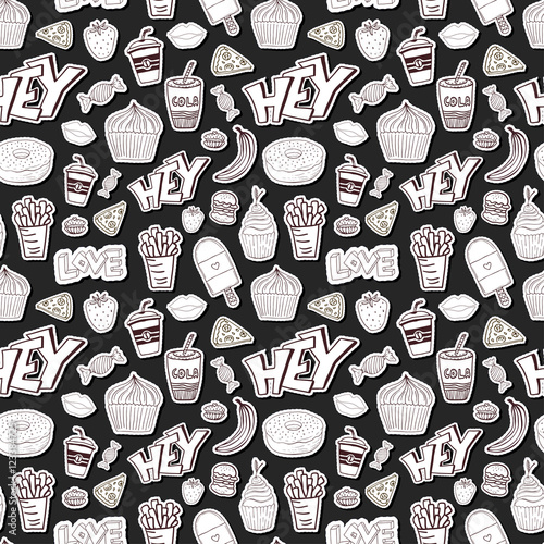 Seamless Cartoon Pattern With Food Cartoon Background In Trendy