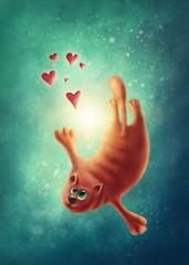 Red cat in love