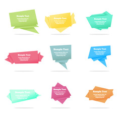 Set of quote vector abstract geometric origami speech bubbles background and place for message