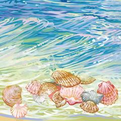 Beautiful seashells on a waves background.