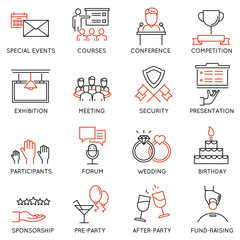 Vector set of 16 thin icons related to event management, event service and special event organization. Mono line pictograms and infographics design elements - part 2
