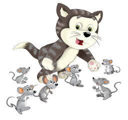 Cartoon happy cat standing smiling and thinking around the mice - isolated - illustration for children