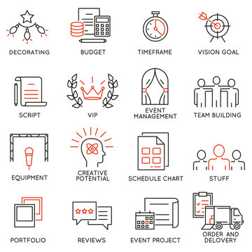 Vector set of 16 thin icons related to event management, event service and special event organization. Mono line pictograms and infographics design elements - part 1