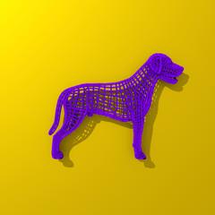 Purple low polygonal dog illustration