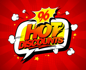 Hot discounts vector sale illustration in pop-art style
