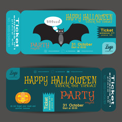 Ticket to a Halloween party on the turquoise background vector illustration.