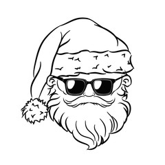 Hipster Santa Claus Head. Sunglasses.