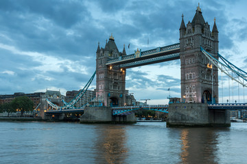 Twinlight cityscape of City of London and Thames River, England, United Kingdom