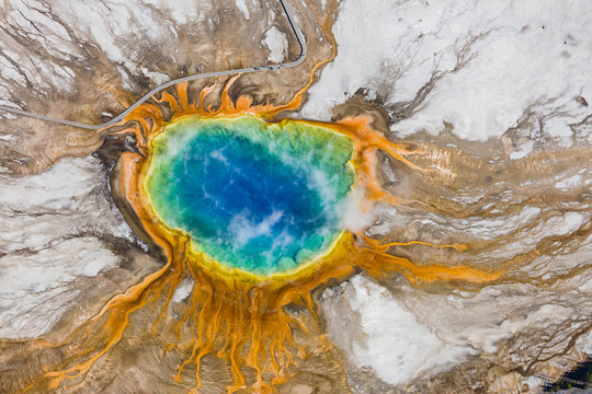 The Grand Prismatic Spring in the Midway Geyser Basin - Yellowstone National Park