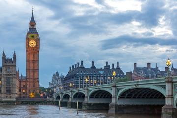 Photo sur Plexiglas Londres Amazing Night photo of Westminster Bridge and Big Ben, London, England, United Kingdom
