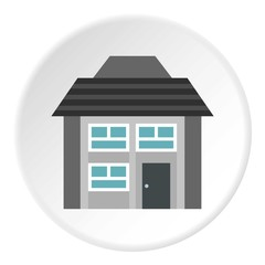 Two storey house with sloping roof icon. Flat illustration of two storey house with sloping roof vector icon for web