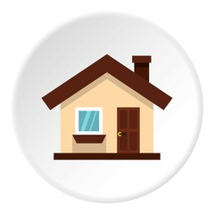 One storey house with chimney icon. Flat illustration of one storey house with chimney vector icon for web